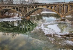 The Route 40 Bridge over Conococheague Creek in Hagerstown Maryland (PhotosToArtByMike) Tags: snow ice md maryland hagerstown westernmaryland wilsonbridge washingtoncounty route40 hagerstownmaryland conococheaguecreek route40bridge