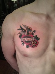 Swallow Heart With Rose Tattoos On Chest 081 (tattoos_addict) Tags: rose with heart chest tattoos swallow 081 hearttattoos