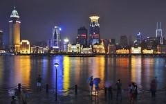 Shanghai - The Bund (Perfect Gnat) Tags: china reflection rain skyline night river shanghai nightshot bund