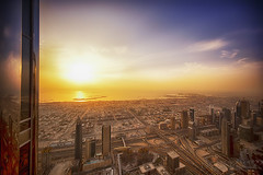 Sunset from Burj Khalifa II (Riyazi) Tags: blog slideshow burj khalifa dubai uae sunset blue building architechture city cityscape road zayed sky outdoor cloud