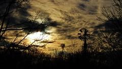 the evening tides...(HSS) (BillsExplorations) Tags: windmill windmillwednesday water waterpump evening dusk sunset clouds sky moon tides dark silhouette abandoned ruraldecay rural farm