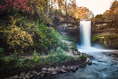 Minnehaha Falls - Autumn afternoon (michaelraleigh) Tags: autumn hiawatha landscape f28l serene highquality minneapolis water 2035mm canon fall waterfall minnehaha path longexposure trees secluded red beautiful hidden infocus reflection trail outdoors green canoneos5dmarkii park hdr minnesota