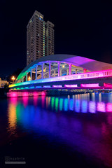 Colours of the Rainbow (syphrix photography) Tags: rainbow elgin bridge syphrix singapore river water waterway north road lord vehicular colourful blue hour light trail central area 2016 canon cityscape city long exposure boat quay