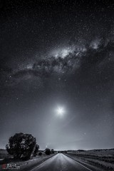 Starry Road (Bill Thoo) Tags: parkes nsw australia starryroad sony a7rii samyang 14mm milkyway night stars sky road astrophotography landscape travel composite verticalpanorama panorama monochrome blackandwhite ngc platinumheartaward