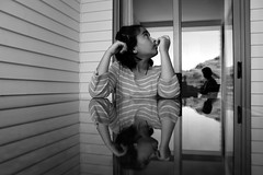 NZ#69 (manansatsangi) Tags: candid canon blackandwhite newzealand kids mirror invert inverted girl table sitting mirage image reflection