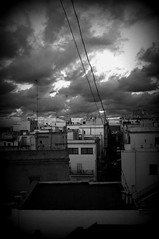Between roofs and clouds (katjaschrader) Tags: photograph blackandwhite abovetheroofs italy peschici