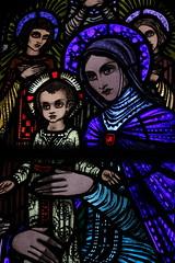 Madonna & Child. (mcginley2012) Tags: charlestown stainedglass vibrant window madonnachild colour light stanthonyandthedivinemother harryclarke art mayo church churchart blue ireland detail