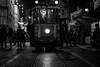 Cyclops of Beyoğlu / V for what? (Özgür Gürgey) Tags: 2016 50mm bw d750 darkcity nikon tünel candid evening lines lowlight projector street tram istanbul turkey