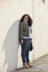 Bomber Jacket + Peplum (GirlWithCurves) Tags: bomberjacket peplum motherhood taneshaawasthi girlwithcurves plussizestyle