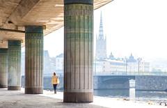 Morning Stroll (TorErikP) Tags: stockholm haze morning bright pillars bridge walk sweden city