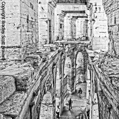 Roman amphitheatre, Arles, France (BradleyScottBravard) Tags: romanruins amphitheatre romanamphitheatre blackandwhite arles france urban history