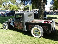 1933 Ford pickup & trailer (bballchico) Tags: 1933 ford pickuptruck flames 1947kittraveltrailer frankiejessie billetproof billetproofantioch carshow
