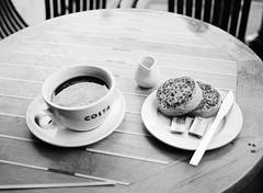 Costa - coffee and crumpets (oh it's amanda) Tags: fujiga645i ga645i ilfordxp2 blackandwhite blackwhite bw c41bw c41blackandwhite london londonengland england costa coffee crumpets