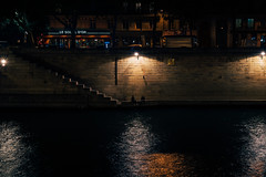 These Late Night Talks (Rebecca Haranczak) Tags: night nightphotography reflection river water couple conversation evening selectivelighting city citynight stairs september paris france seine sony sonya7r gmaster color