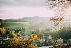 Autumn Sun (freyavev) Tags: autumn autumnwhimsy autumncolors green orange wolkenstein sachsen saxony erzgebirge oremountains deutschland germany highviews trees fields houses vsco outdoor