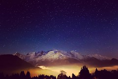 Stars over Mont Blanc (MRFotografie) Tags: vacation outdoor massif valley lights village city night stars travel landscape passy hautesavoie europe france mountains montblanc