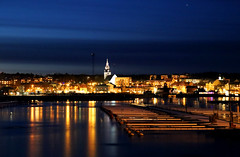 Nightscape of Hudiksvall (fotofredrica) Tags: night nightscape nightphotography city cityscape hudiksvall town ice cold winter blue yellow orange