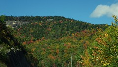 """This is the """"Gap Vista Scenery"""" along the Kanc - IMGP6610 (catchesthelight) Tags: northernnewengland nh nature mountains thekanc misspelled kangamangushighway kangamagushighway mustsee constructed 1959 traveled overamillionpeopleeachyear thekancamagushighway 34mileeastwestchannel 800000acre whitemountainnationalforest lincolnnhtoconwaynh trees change leaves summergreens breathtaking shadesofyellow red fall illuminated colorful dramatic enjoyable leafpeepingroute rockycliff"""