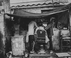 Street Barbershop (Ash and Debris) Tags: haircut bnw street people blackandwhite city shimla urbanlife streetlife bw urban monochrome india barbers indians barbershop man