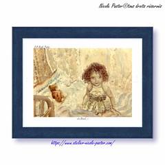 Enfant au rveil. Petit cadre Aquarelle de Nicole Pastor (Nicole Pastor) Tags: enfants enfance petitefille chambreenfant aquarelle illustration
