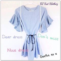 """#InstaFrame DJ Kat Klothez 15 BB135 Dear Dress ราคา: 550- สถานะ: ส่งฟรี EMS สินค้า : พร้อมส่ง สี: ตามภาพ Size M : Freesize ความยาว: 28"""" เนื้อผ้า: Cotton Detail : ชุดเดรสสั้นผ้าคอตตอนเนื้อหนา แขนระบายลายริ้ว น่ารักฟุดฟุดค่าาา"""