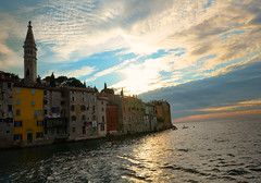 Sunset in the old mediterranean town Rovinj in Istria, Croatia (Dragos Cosmin- Getty Images Artist) Tags: street old city travel sunset sea vacation house reflection building tower history tourism church window water architecture night facade landscape town europe mediterranean day view image outdoor vivid croatia nobody belfry coastal maritime mass setting picturesque rovigno rovinj impression adriatic adria porec istria istra affected equanimity littoral seaboard quietude sedateness vividly istriacroatia bunchofhouses
