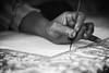 Steady hand (ysoseriuos) Tags: blackandwhite bw india monochrome painting handicraft stylus steady 50mm18 dakshinchitra ruralcraft scottwelbyworldwidephotowalk2013 handheldpainting