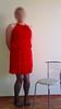 red_set_001 (nullyfemme) Tags: red chair dress panty stocking crossdresser crossdress slips gatherbelt