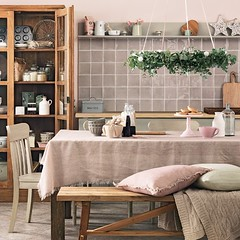 Baking Cupboard (Heath & the B.L.T. boys) Tags: kitchen shelves diningroom wreath bench sideboard pitcher cakepedestal cupboard pillow blanket tile buffet tablecloth tablescape