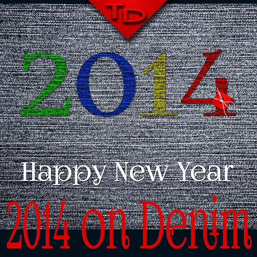 2014 on denim background