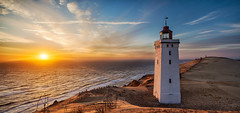 Rubjerg Knude Lighthouse Pano (Martin W. Jensen) Tags: sunset lighthouse seascape landscape rubjergknude