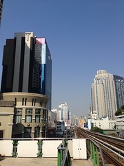 Times Square building seen from Asok BTS Skytrain station, Bangkok, Thailand (UweBKK (α 77 on )) Tags: city urban building station architecture train square thailand asia track 5 bangkok times southeast sheraton skytrain asok bts sukhumvit iphone