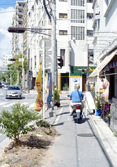 東 スクーターに乗るひと Naha-si, Okinawa (ymtrx79g ( Activity stop)) Tags: street color slr film japan analog nikon kodak 35mmfilm motorcycle okinawa 135 沖縄 kodakgold100 街 写真 銀塩 フィルム nikonnewfm2 那覇市 nahasi 自動二輪 nikonainikkor50mmf14 歩行走行 walkandrun 201311blog