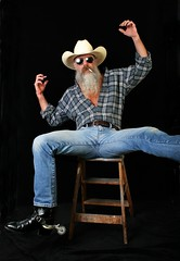 Hee Haw (Cowboy Tommy) Tags: portrait hairy hot sexy beard spurs goatee cowboy legs boots wranglers crotch shades jeans shade western denim mustache tight plaid selfie silverdaddy