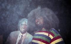 Jason Schwartzman and Reggie Watts // NYC // Diary (JeffWellerPhotography) Tags: show camera blue portrait music cloud jason film 35mm blood paint diary flash award powder event watts dye holi reggie disposable reckless schwartzman youtube jeffweller