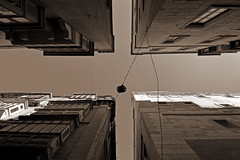 Valletta Crossing (albireo 2006) Tags: building monochrome sepia architecture nikon streetlight mediterranean crossing cross perspective malta intersection crossroads narrow valletta v18 nikond3100 valletta2018