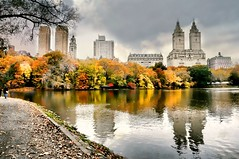 Central Park #1 (floralgal) Tags: park nyc newyorkcity lake nature buildings reflections centralpark manhattan sanremo waterreflections boaters colorfulleaves colorfultrees autumnincentralpark