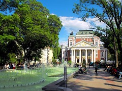Sofia, Bulgaria, The National Theatre (Stella VM) Tags: street city blue trees sky streets green art fountain architecture buildings spring europe theatre sofia bulgaria       national theatre