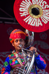 Brass (Five Second Rule) Tags: music colour musicians dance bright glasgow indian performance tuba brass kelvingrovepark 2014 kawabrassband melafestival glasgowmela maharajhastage