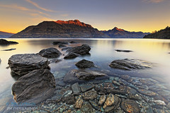E V E N I N G  |  G L O W (Benz Catbagan) Tags: sunset sky lake snow mountains water landscape rocks glow ngc lakeside clear queenstown alpen wakatipu waterscape perfectexposure landscapephotography