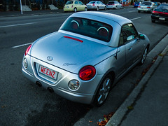No Kids on Board (Steve Taylor (Photography)) Tags: weenz kidsonboard daihatsu copen convertible road street blue silver newzealand nz southisland canterbury christchurch cbd city wet car auto automobile 2seater