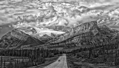 Stormy Road II (Philip Kuntz) Tags: blackandwhite bw mono monotones scenichighway roads stormy davidthompsonhighway mtwilson alberta canada