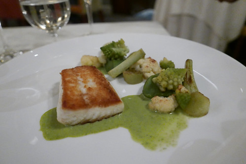 Halibut, Sea Parsley Veloute, Cauliflower, Potator and Sea Lettuce, Lemon Verbana