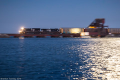 Blue Hour on the Bay (Brandon Townley) Tags: trains railroad bluehour norfolksouthern ns sanduskybay lakeerie sandusky bayview portclinton bridge drawbridge