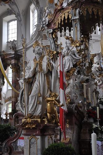 Staffelstein (Alemania). Basilica Vierzehnheiligen. Templete de los 14 Santos. Detalle