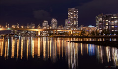 On Nights Like Tonight (Clayton Perry Photoworks) Tags: vancouver bc canada fall autumn explorebc explorecanada night lights downtown outdoor falsecreek bridge cambiestreetbridge skyline reflections buildings yaletown