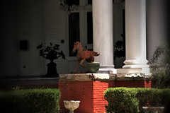 Sentinel Horse (Mike McCall) Tags: 2016mikemccall pulaski county georgia usa photograph photo image picture century nineteenth house residence building structure parsonsblountwallcobb parsons blount wall cobb mansion 1901 20th ornament sentinel horse statue brick iron hawkinsville