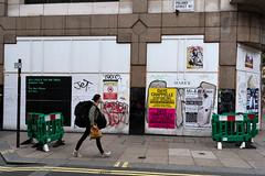 Woman with a Large Rucksack (stevedexteruk) Tags: poland street london uk soho 2016 billboard poster endless art woman rucksack pavement nick cave bad seeds dave chappelle koos graffiti