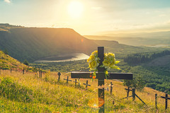 Rhigos sunset and memorial crosses (technodean2000) Tags: along side rhigos rd rhondda cynon taff valleys south wales old mining towns mountain landscape outdoor mountainside field grassland sunset serene hill