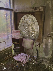 Barber Shop Hairdresser- Pripyat (Chernobyl Exclusion Zone)_4 - Copy (Landie_Man) Tags: none hair salon pripyat care haircare barber hairdressers disused derelict haircut cut pamper hairdo cutting scissors style radiation radioactive ionising sad abandoned closed community neighbourhood neighbours